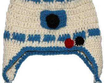 Star Wars R2D2 Wool Hat: robot geek white blue knit beanie ear flap