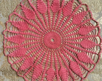 "Large Round Crochet Lace Coral Doily 17"" D Late 1800's Era"