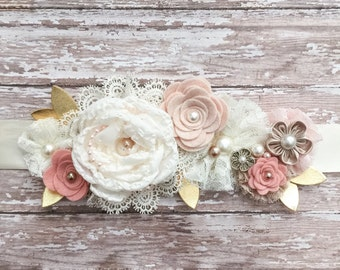 Rustic Wedding Sash, Floral Sash, Lace Sash, Country Wedding Bridal Sash, Blush Bridal Belt, Blush Maternity Sash, Floral Bridal Belt