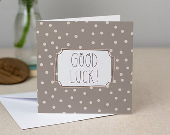 Good Luck Card - Hand-Drawn Polkdadot Greetings Card