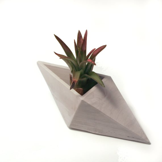 Geometric concrete air plant or ring holder by chalkconcrete for Geometric air plant holder