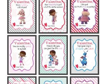 Printable Valentines, Doc Mcstuffins Printable Valentines, Doc McStuffins Cards, Doc Mcstuffins Instant Download, Kids Valentines