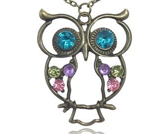 Rhinestone Vintage Style Owl Pendant Necklace
