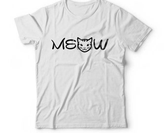 Funny MEOW T Shirt Typography Kitten Top Cat Check Meowt TShirt