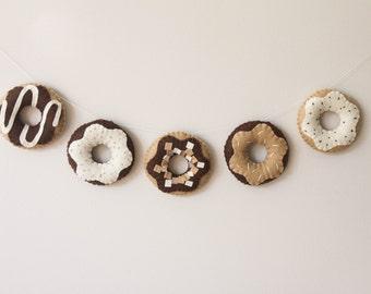 Felt Food, Garland, Chocolate Donut, Doughnut, Play Kitchen, Play Pretend, Baby Nursery and Childrens Decor, Baby Shower Gift