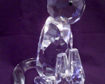 Large Crystal Figurine Sitting Cat, Faceted Crystals, Over 1 Lb, Very Cute