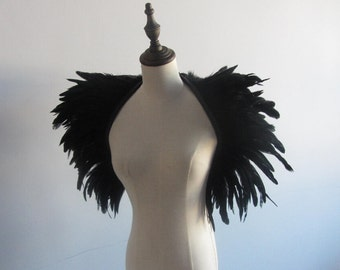 Black feathers SHAWL Shrug Shoulders Feathers cape Halloween costume ,vintage capelet for Adult