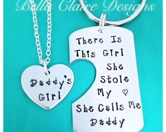 Daddys Girl set, Set of 2 There's This Girl She Stole My Heart She Calls Me Daddy Daddy daughter necklace keychain set, heart necklace, dadd