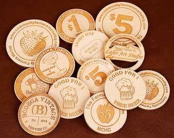 Laser Cut Wood Tokens (2-side engraved), Wooden Nickles, Drink Tickets, Wedding Favors