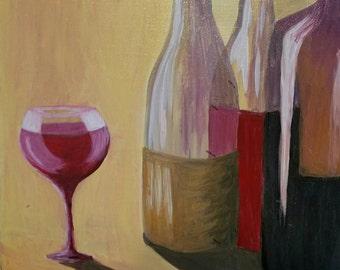 Wine bottles original acrylic on canvas
