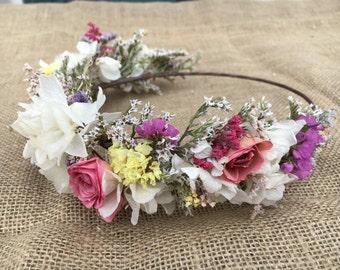 Classic Half dried flower crown. Real flower crown. Bridesmaid flower crown. Sold