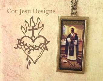 St Martin de Porres necklace, St Martin de Porres pendant, St Martin de Porres, Catholic jewelry, patron saint medal
