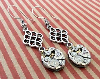 Wach Part Earrings, Gear Earrings, Bulova Earrings, Movement Earrings, Steampunk Earrings, Bulova Watch, Bulova Movement, Steampunk Jewelry