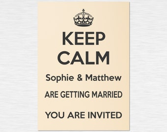 Our 'Keep Calm' Collection - Personalised Invitations - Black on Ivory - multiple packs - personalised