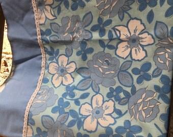 Vintage Retro blue floral standard pillowcase