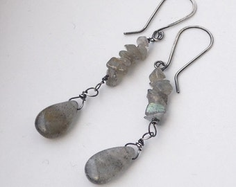 Sterling silver and grey labradorite earrings