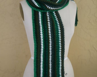 Vintage 1970s Hand Crochet Knit Handmade Multi Color Green White Scarf with Fringe