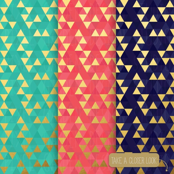 SALE. Gold Geometric Digital Paper. Gold Foil Triangle