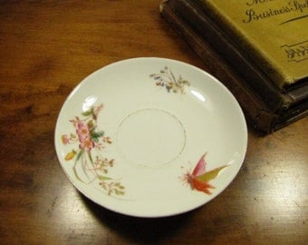 Vintage Saucer - Floral Bouquet - Wispy Butterfly