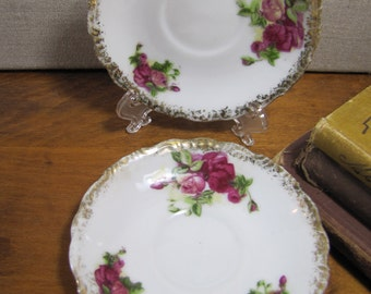 Small Saucers - Pink Roses - Heavy Gold Accent - Set of Two (2)