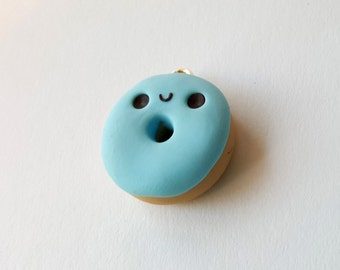 Happy Little Blue Donut Cupcake Charm Polymer Clay Miniature Food Jewelry
