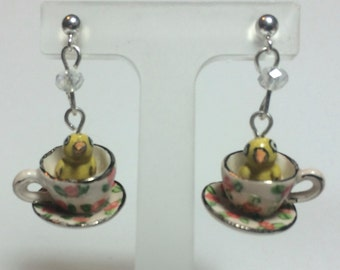 Chick Teacup Earrings