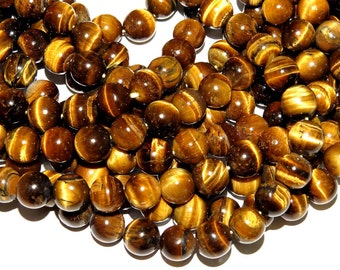 "Tiger Eye Smooth Beads Round Shape  16"" Inches 10MM Approx 100% Natural  1 String Good Quality On Wholesale Price."