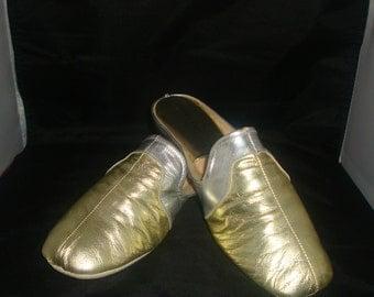 Vintage Jacques Levine Multi Metallic Leather Slippers/House Shoe Size 6.5