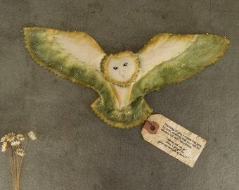 Angel owl / Alba(Green)... small owl,Paint,embroidery,barn owl,handmade