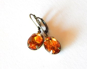 Acrylic Rhinestone Drops, Rhinestone Earrings, Steampunk Earrings, Burnt Orange Rhinestones, Destash