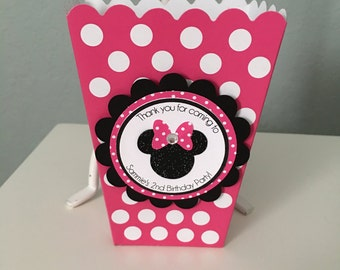 Minnie Mouse personalized popcorn favor boxes