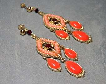 Coral and Garnet Chandelier Gold Dangle Earrings with Lever Back Fish Hooks