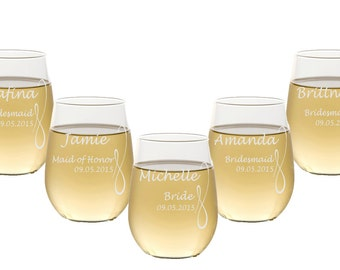 8 Custom Stemless Wine Glasses / Personalized Wine Glasses / Engraved Wine Glass / Wedding Party Gifts / Engraved Glass / Bridesmaids Gifts