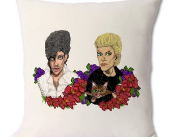 Prince and David Bowie cushion/ decorative throw pillow
