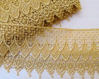 "Gold Lace Trim Metallic Gold Venice Lace, Gold Venise Lace  Delicately Fine Antique Feel 5"" by 1 Yard PRISCILLA"