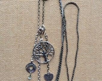 Tree of Life Silvertone Assemblage Pendant Necklace