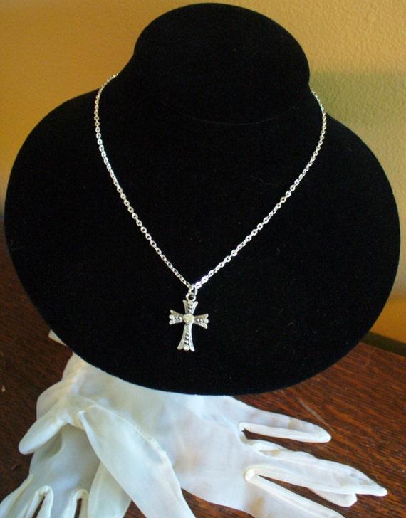 Silver Cross Necklace, Rhinestone Cross Necklace, Simple Cross Necklace, Fine Chain Cross Necklace, MarjorieMae