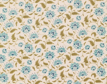 NEW from Tilda ' Pardon My Garden ' Ahlia Teal Floral Quilting and Craft Fabric Fat Quarter 481116