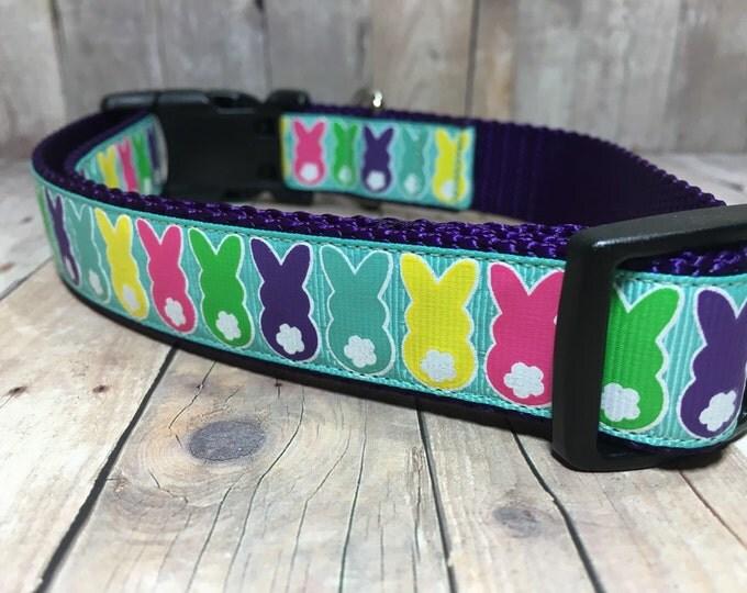 "The Madison   Designer 1"" Width Dog Collar   CupcakePups Collars   Easter   Bunny Tails - Medium/Large Dog Collar"