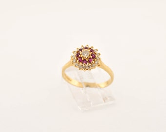 Vintage Red Sapphire 'Art Deco' Ring