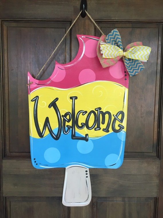 Popsicle Summer Welcome Door Hanger