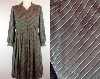 Vintage 80s Green Dress, Tokyo Style, Japanese Vintage, Stripey Dress, Shirt Dress, Size 10 12 Medium, Womans Clothing