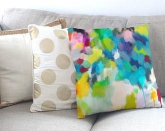 2x Original Art Throw Pillow Cushion Covers - 'Freesia' & 'Bird of Paradise' Designs