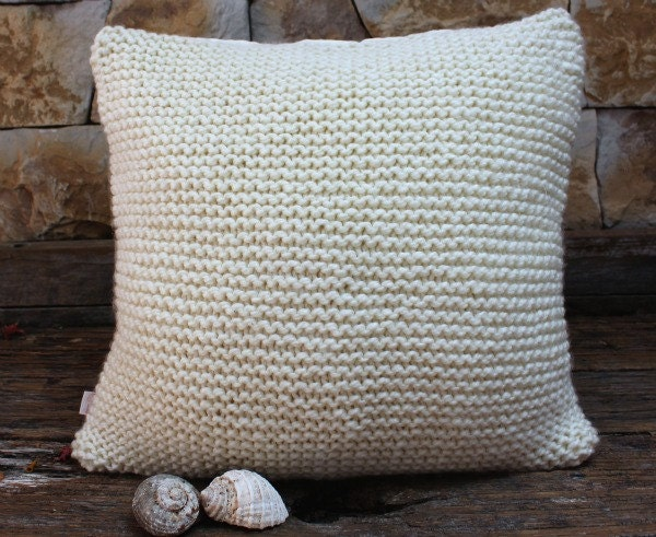 Large Garter Stitch Cushion Cover. Hand Knitted Cushion.