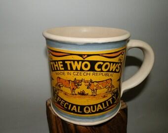Handmde Cofee/Tea Ceramic mug - The Two Cows - Special Quality