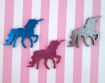 3 Glittery Acrylic Laser Cut Prancing Unicorn Cabochons #638