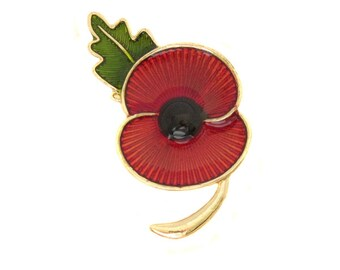 Red Enamel Poppy Brooch with a Smooth Gold Plated Metal Finish Gift Boxed