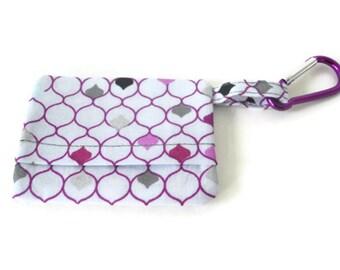 Purple and white dog mess/walking bag holder, poop bag holder, bag clip