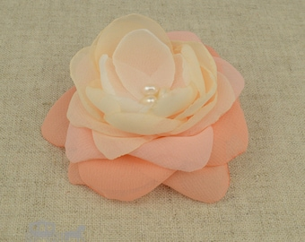Peach Hair Flower - Peach Fascinator - Peach Wedding - Peach Hair Clip - Peach Bridesmaids - Peach Hair Comb - Peach Accessory - Comb -Peach