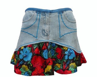Floral Ruffle Upcycled Short Denim Skirt